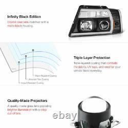 04-08 Ford F150 Fiber Optic Neon Tube U-Bar C-Shape LED DRL Projector Headlight