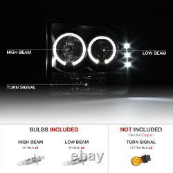 1999-2004 Ford F250 F350 F450 SD Super Duty Black Smoke Halo Corner Headlights