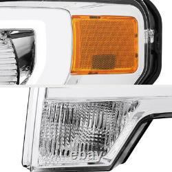 2009-2014 Ford F150 Chrome NEW PROJECTOR Front Headlights Headlamp Assembly SET