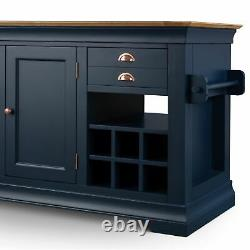 Alberta Blue Painted Furniture Limited Edition Large Granite Top Kitchen Island