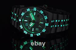 Aragon BioLuminescence Slvr & Blue Accent NH35 Automatic 44mm DiveMaster Watch