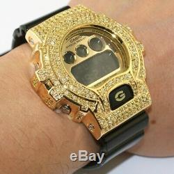 Black and Gold Limited Edition Iced Out G-Shock DW6900 Mens Watch