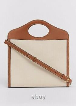 Burberry Mini Two Tone Canvas Leather Pocket Bag Malt Brown, Limited Edition, New