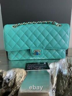 CHANEL 19S Iridescent Green Caviar Medium Classic Flap Bag 2019 CC Pearly Gold