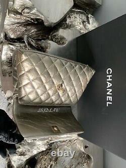 CHANEL Light Gold Mini Coco Handle Small Classic Flap RARE Calf New Caviar NWT