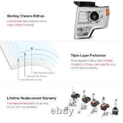 CHROME 2009-2014 Ford F150 Plasma LED Tube Projector Headlights Left+Right SET
