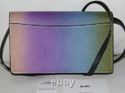 COACH Ombre Rainbow Leather Foldover Crossbody Bag Clutch Wallet Purse Handbag