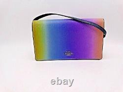 COACH Ombre Rainbow Leather Foldover Crossbody/ Clutch Wallet New with Tag