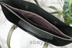Coach 1671 Mollie Large Kelp Black Pebbled Leather Tote Bag Handbag Purse