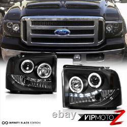 For 05-07 Ford SuperDuty Black Clear Dual LED Halo Ring Projector Headlight Lamp