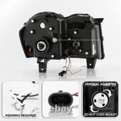 For 05-07 Jeep Grand Cherokee Black Housing LED Tube Halo Projector Headlight