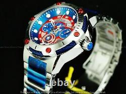 Invicta Women's 39mm Ltd Ed Marvel Captain America Bolt Chrono Red Blue SS Watch