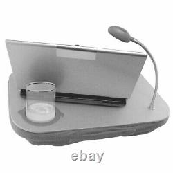 Laptop Work Station Cushion Tray with LED Light Easy Reading Table Cup Holder