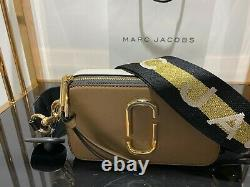 MARC JACOBS Logo Strap Snapshot FRENCH GREY MULTI Small Camera Bag 100% AUTHENTI