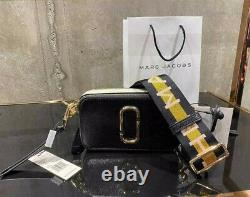 MARC JACOBS the Logo Strap Snapshot NEW BLACK MULTI Small Camera Bag 100% AUTHEN