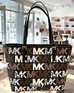 Michael Kors Brown Black Medium Carryall Tote Jet Set Travel Graphic Logo Bag