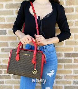 Michael Kors Hope Medium Messenger Crossbody Bag Brown MK Signature Flame Red