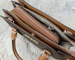 Michael Kors Hope Messenger Satchel Brown MK Signature + Luggage Zip Wallet