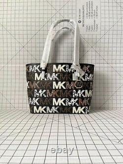 Michael Kors Jet Set Travel Medium Signature MK Graphic Logo Shoulder Tote Bag