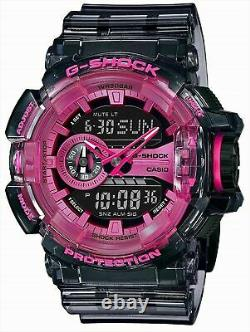 NEW Men's Casio G-Shock Clear Skeleton Pink Analog Digital Watch GA400SK-1A4