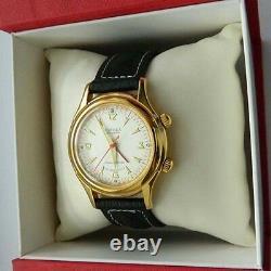 NOS GOLD plated POLJOT 2612 Signal Alarm Wrist Watch in BOX