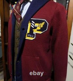 NWT Limited Edition Polo Ralph Lauren Pwing Varsity Letterman Shawl Cardigan