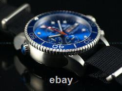 New Deep Blue 40mm Diver 1000 Quartz Chronograph Royal Blue Sapphire Ss Watch