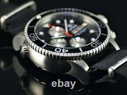 New Deep Blue 44mm Master 1000 Quartz Chronograph Black Dial Sapphire Ss Diver
