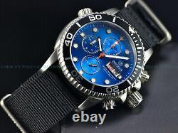 New Deep Blue Men 40mm Diver 1000 Quartz Chronograph Blue Dial Sapphire Ss Diver