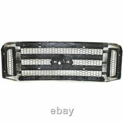 New Grille Chromed Shell with Gray Insert for Ford F-Series Super Duty 2005-2007