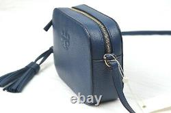 New Tory Burch Thea Royal Navy Pebble Leather Camera Bag Crossbody Purse 67287
