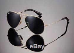 POLARIZED RAY-BAN Folding Aviator 22KT GOLD P3 Plus Sunglasses RB 3479KQ 001/N5