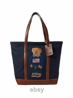 Polo Ralph Lauren 50th Anniversary Canvas Leather USA Flag Bear Tote Bag New