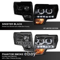 SINISTER BLACK 2009-2014 FORD F150 DRL LED Angel Eye Headlights PLUG & PLAY